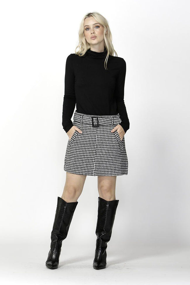 Cher Houndstooth Belted Skirt