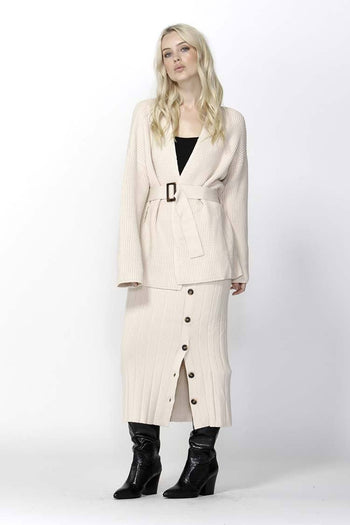 Free Falling Belted Cardigan in Ivory