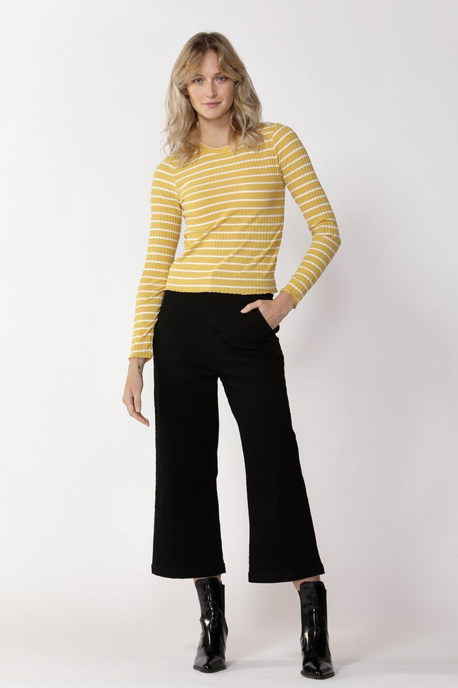 Crowd Pleaser Stripe Top in Sunflower/White