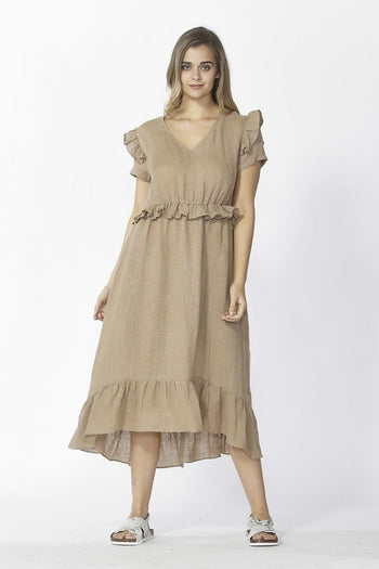 Marthe Ruffle Dress in Tan