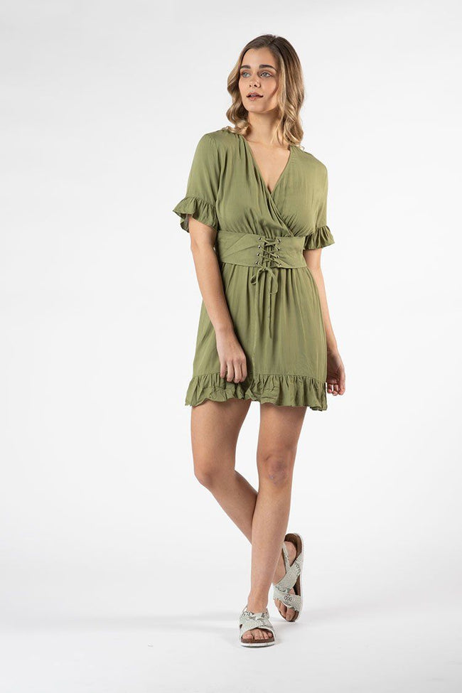 Vera Tie Dress in Khaki