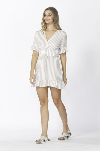Vera Tie Dress in Tan Stripe
