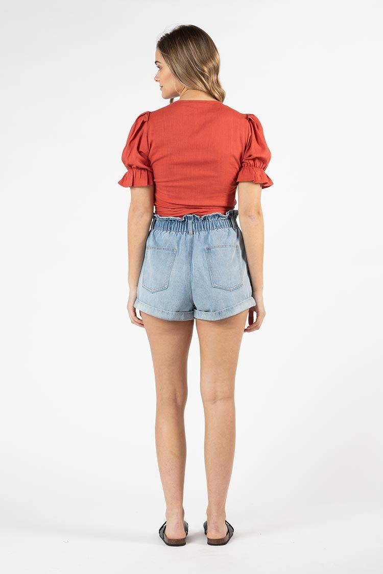 Marthe Puff Sleeve Top in Brick