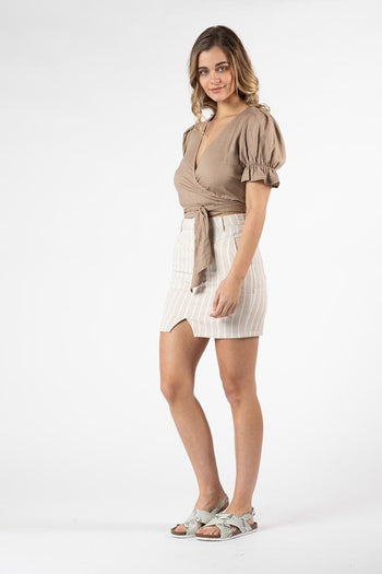 Marthe Puff Sleeve Top in Tan