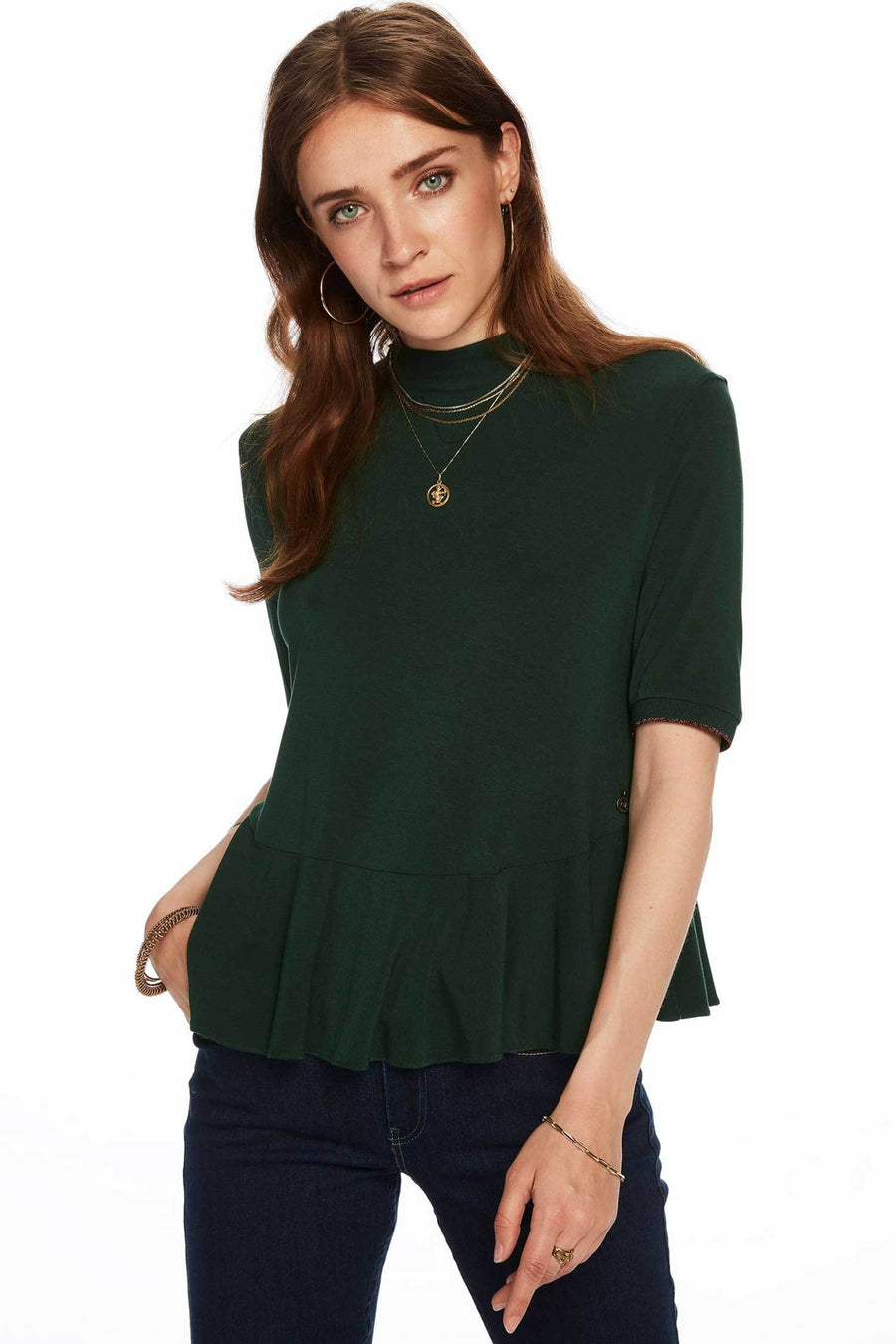 Shop Online Short Sleeve Tee With Peplum Detail by Maison Scotch  Frockaholics Tops