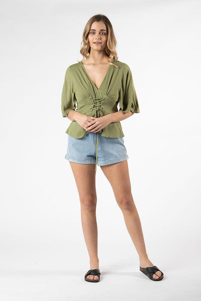 Vera Tie Top in Khaki Tops SASS