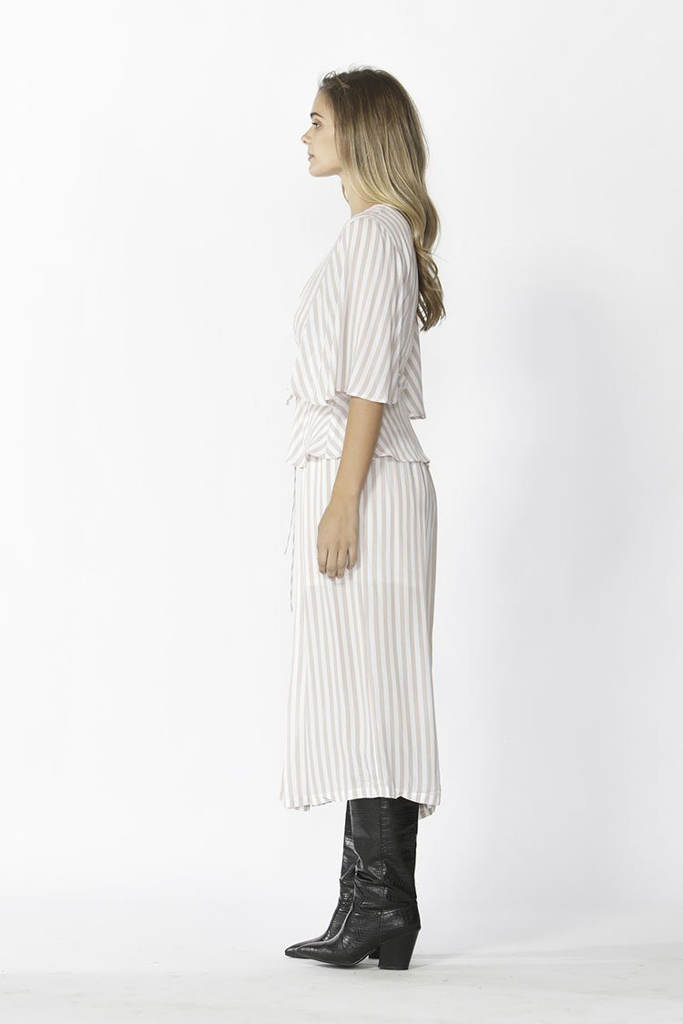 Vera Tie Top in Tan Stripe
