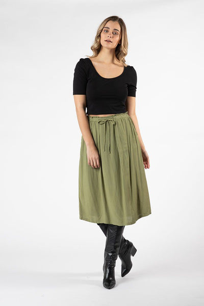 Vera Tie Skirt in Khaki Bottoms SASS