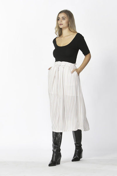 Vera Tie Skirt in Tan Stripe Bottoms SASS
