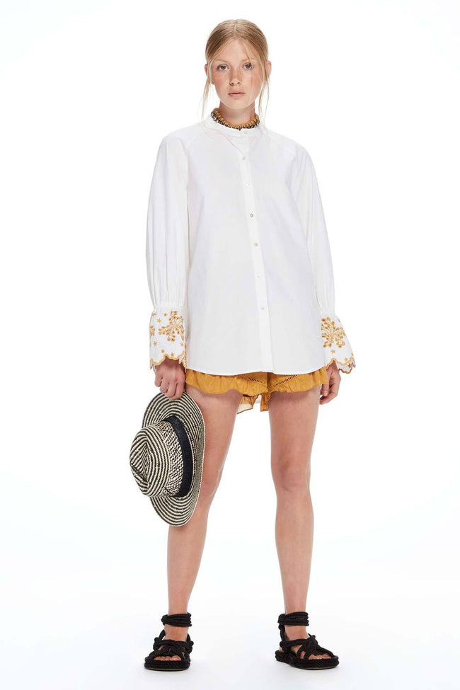 Oversized Fit Button Up Shirt in White | FINAL SALE
