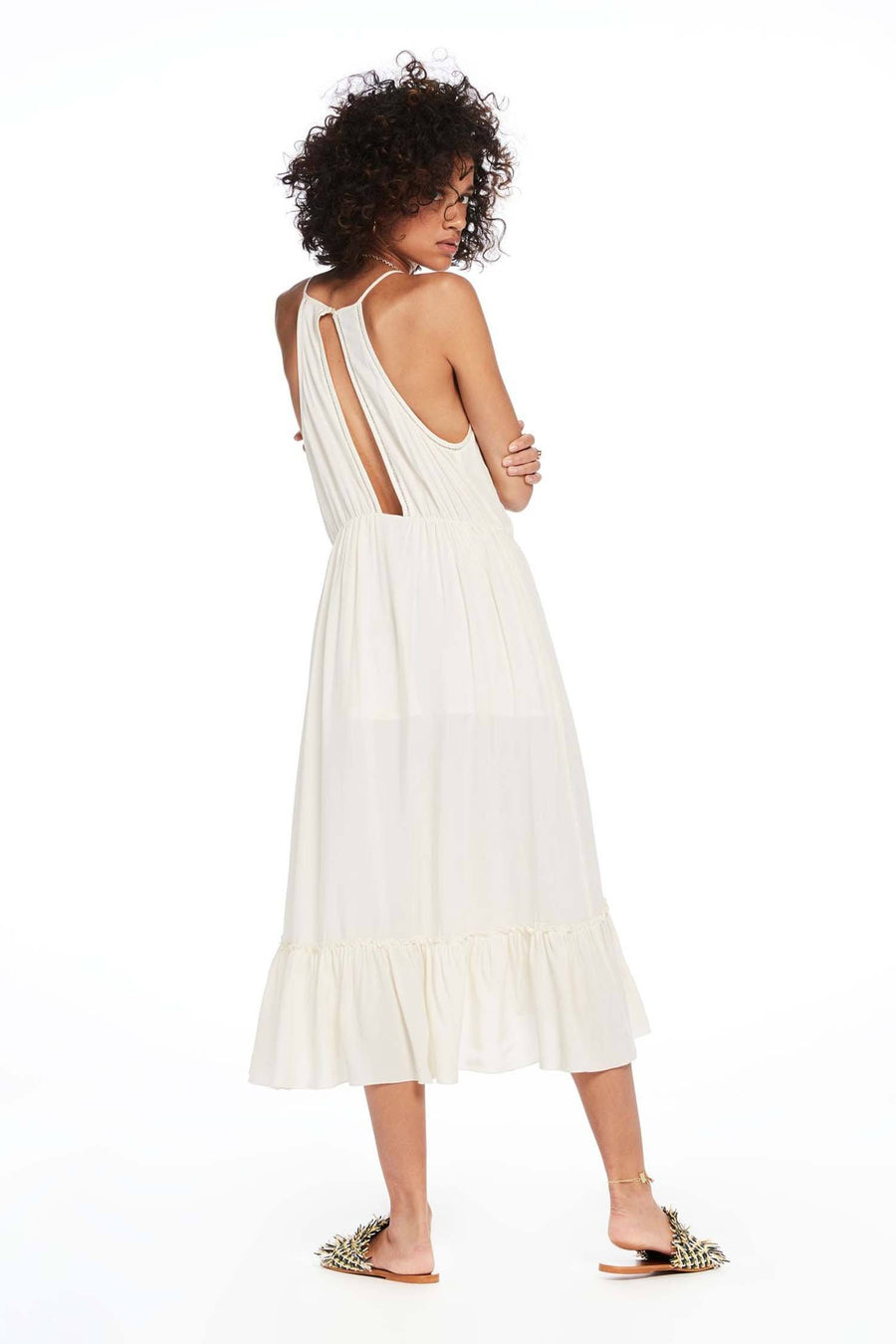 Midi Length Overlap Spaghetti Strap Dress in Off White | FINAL SALE