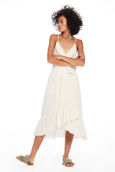 Midi Length Overlap Spaghetti Strap Dress in Off White | FINAL SALE Tops Maison Scotch