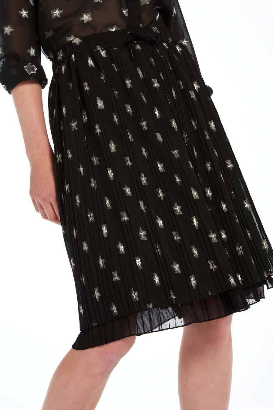 Pleated Double Layer Knee Length Skirt