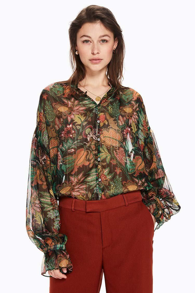 Voluminous Sheer Printed Blouse