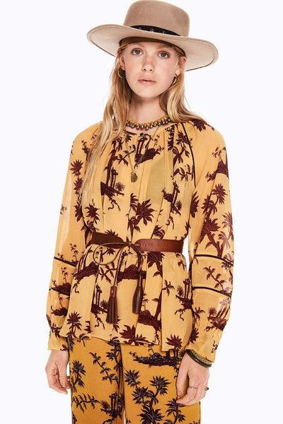 Voluminous Sheer Printed Top | FINAL SALE Tops Maison Scotch