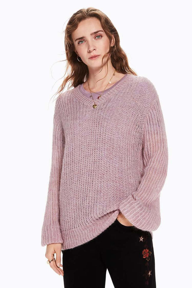 Fluffy V-neck Knit