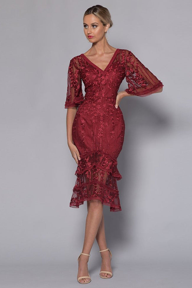 Rose V-Neck Lace Dress