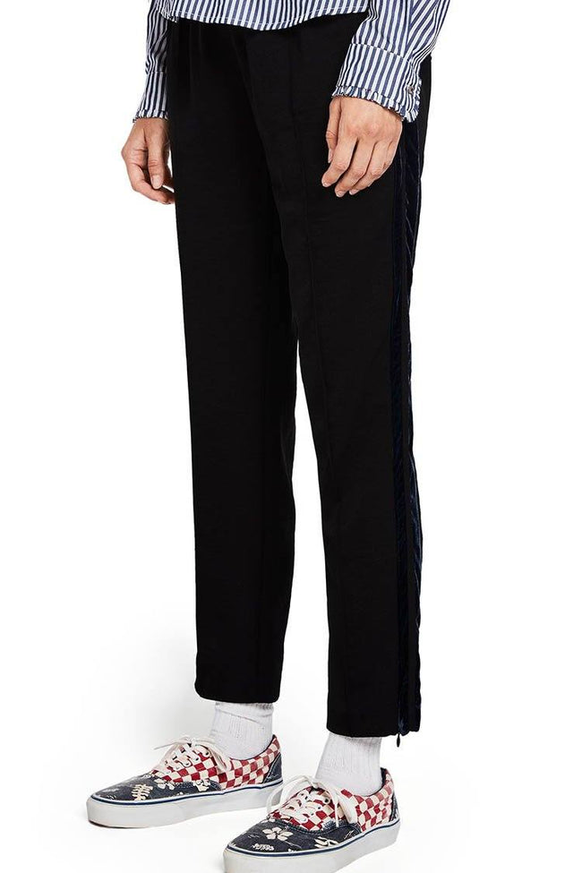 Tailored Pants With Velvet Side Tapes in Black