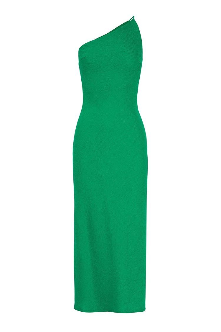 Asymmetric Crimp Bias Midi Dress