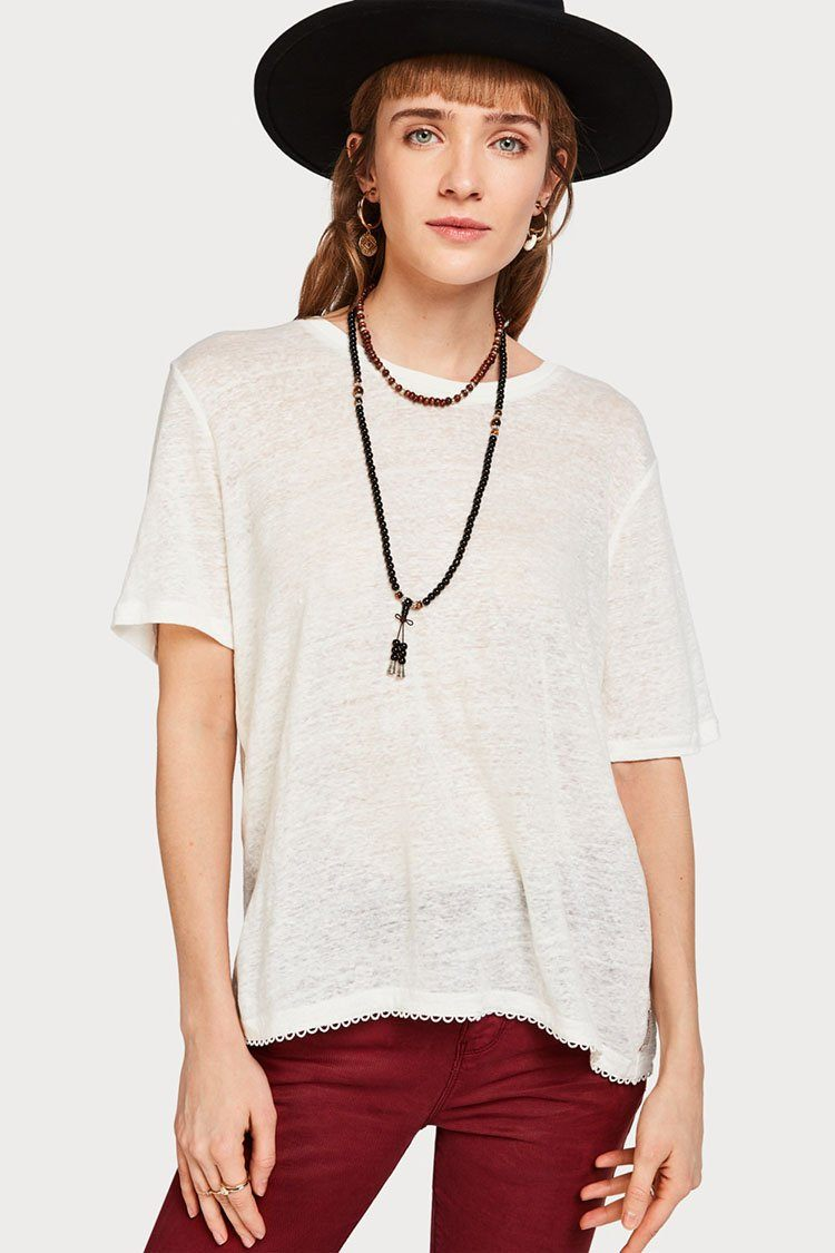 Linen T-shirt in White