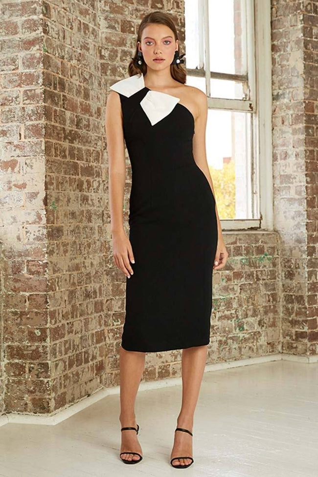 Asymmetric Belle Bow Midi Dress