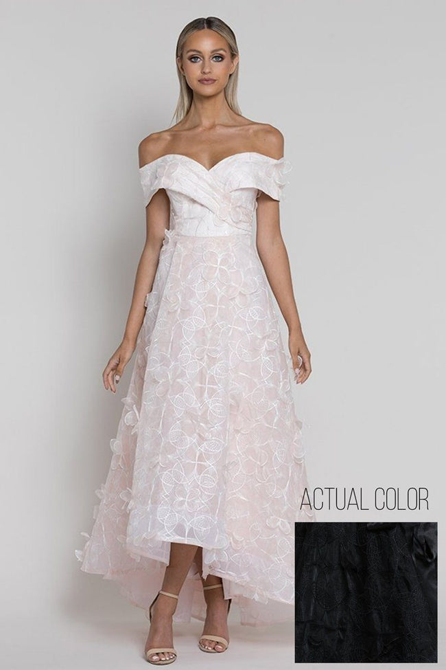 Cleo Petal Off-Shoulder Gown