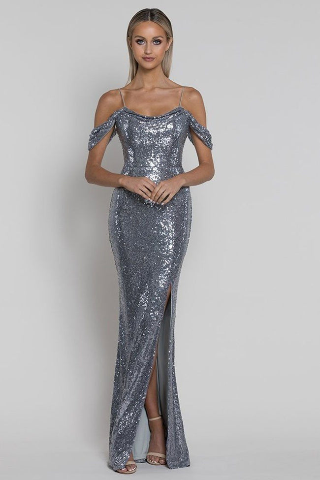Sally Drape Sleeve Sequin Gown