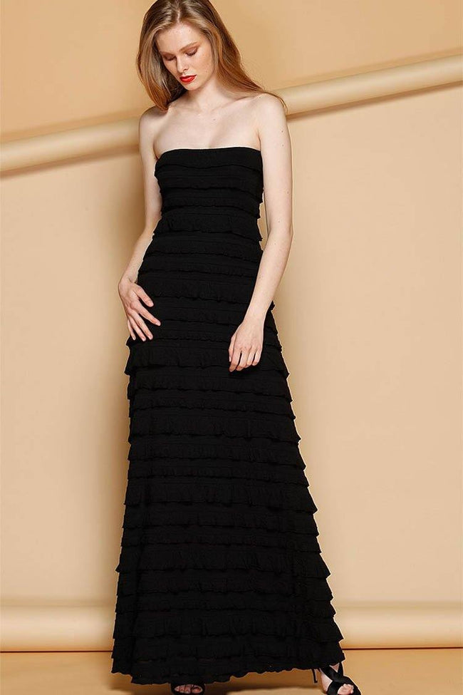 Maddison Maxi Ruffle Dress in Black