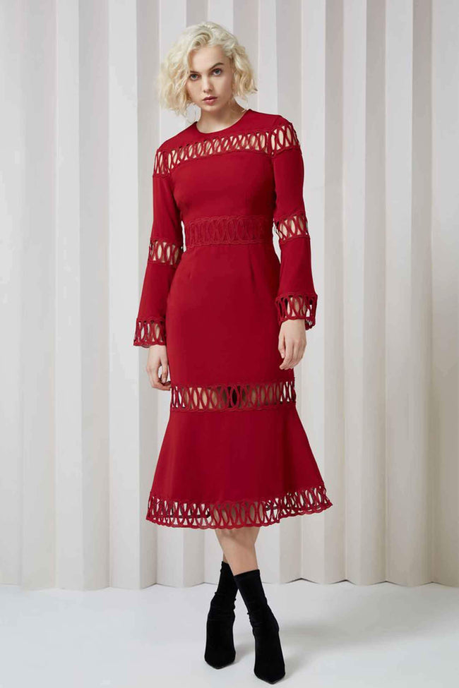 Whispers L/S Dress in Berry