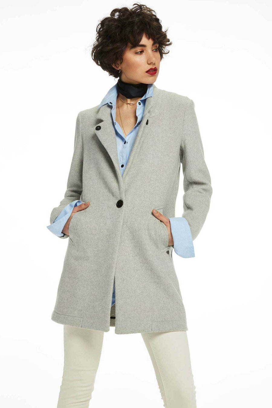 Shop Online Bonded Wool Coat in Grey Melange by Maison Scotch  Frockaholics Jackets & Outerwear