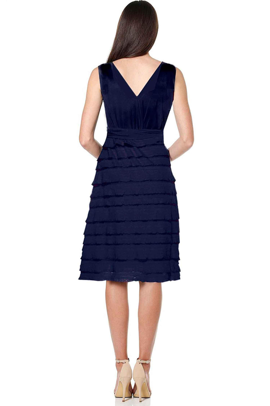 Shop Online V-Neck Ruffle Dress in Navy by Sacha Drake  Frockaholics Dresses