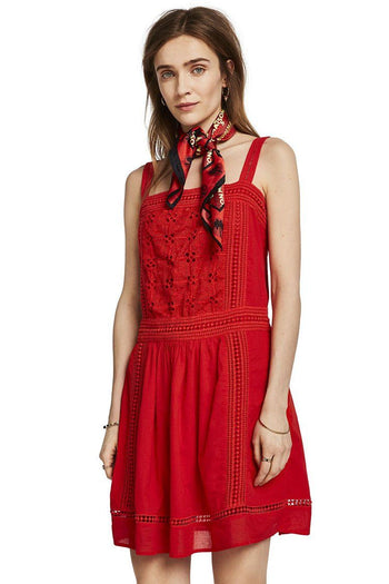 Cotton Summer Dress in Poppy Red