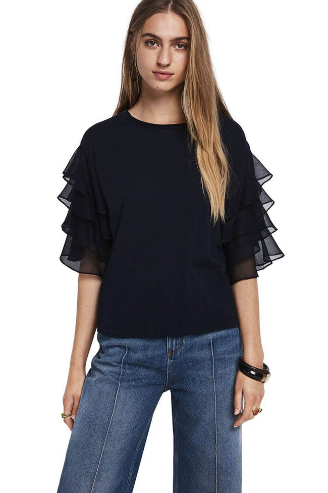 Woven Ruffled Sleeve Top