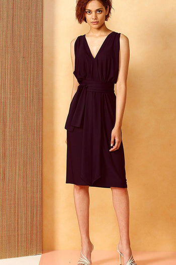 Column Drape Dress in Black Cherry