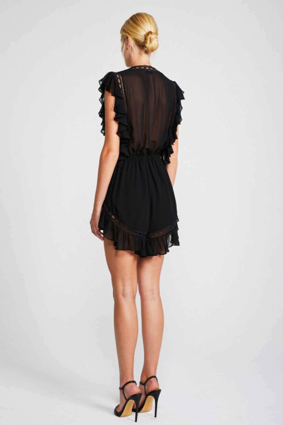 Eclipse Drawstring Playsuit in Black by Shona Joy Frockaholics.com