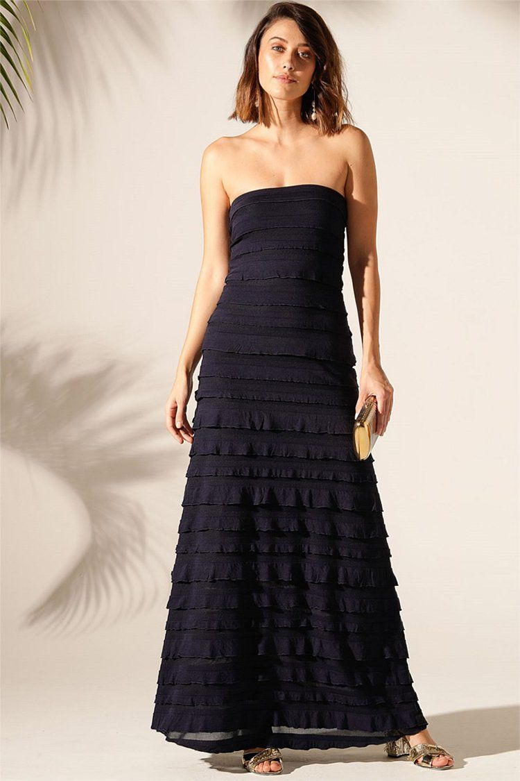 Maddison Maxi Ruffle Dress in Navy