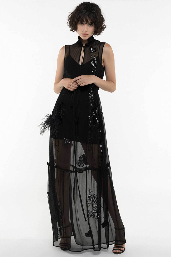 Shop Online Embroidered Long Dress by Patrizia Pepe  Frockaholics Dresses