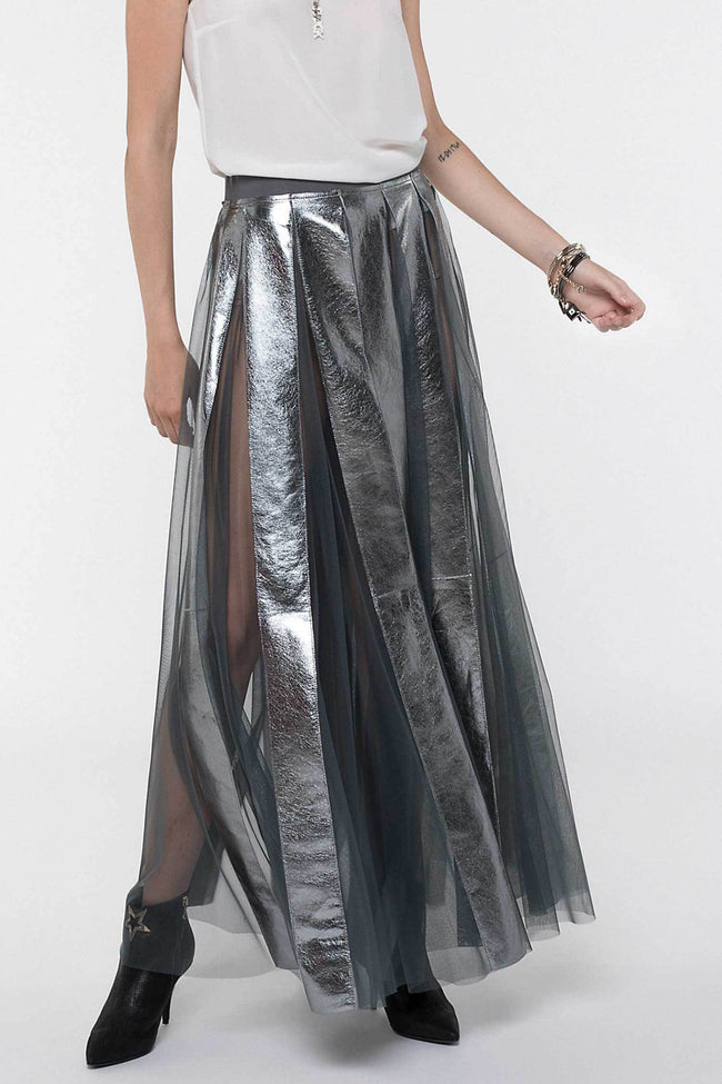 Shop Online Skirt With Metallic Effect Inserts by Patrizia Pepe  Frockaholics Bottoms
