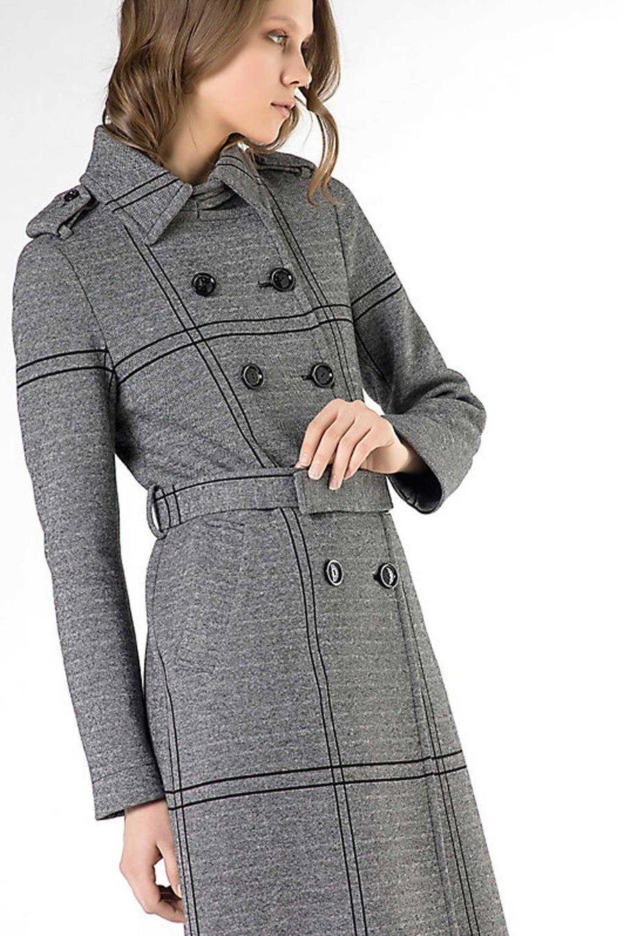 Trench Coat In Heavy Cotton and Wool Blend Jersey by Patrizia Pepe Frockaholics.com