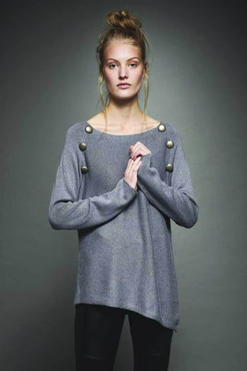 Shop Online Angle Hem Jumper in Steel Grey by Sabatini  Frockaholics Tops