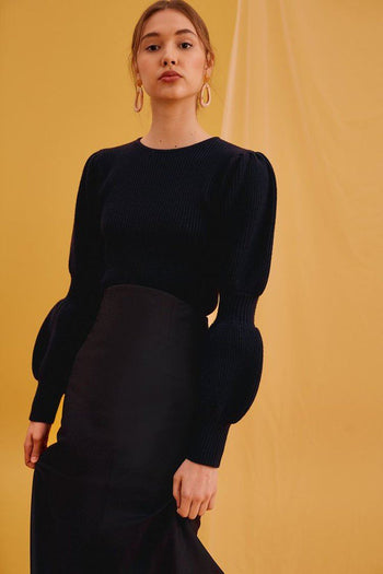 Beam Knit Top in Navy