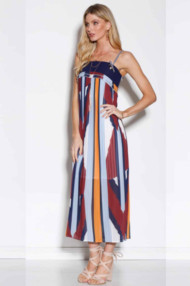 Mosaic Muse Pleated Maxi Dress