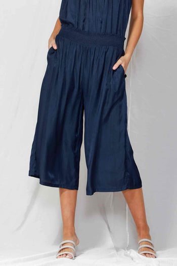 So Me Shirred Waist Culottes in Navy Night