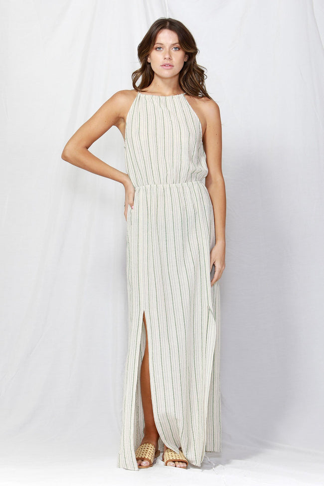 Naples Halter Maxi Dress in Natural/Green Stripe