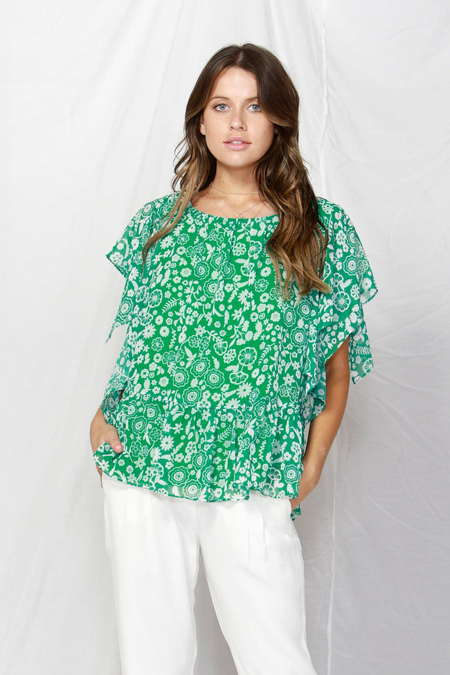 La Spezia Ruffled Blouse in Botanical Green