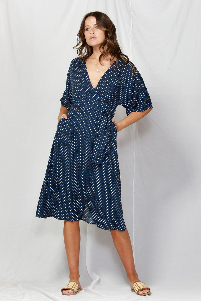 So Me Tie Waist Dress in Navy/White Dots