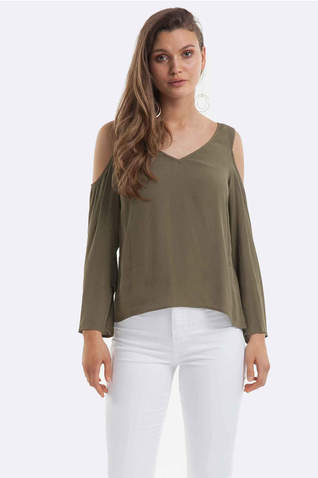 Luna Cut Out Top in Khaki
