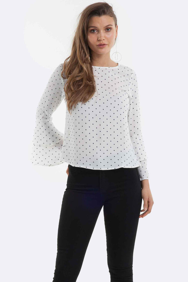 Aria Spot Blouse in White and Black