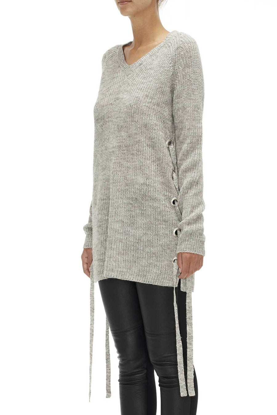 Shop Online Eyelet Lace Up Jumper in Pebble Grey by Sabatini  Frockaholics Tops