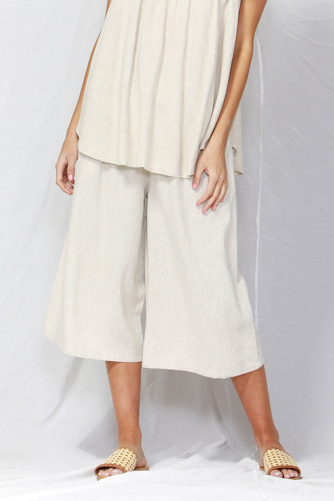So Me Shirred Waist Culottes in Oat